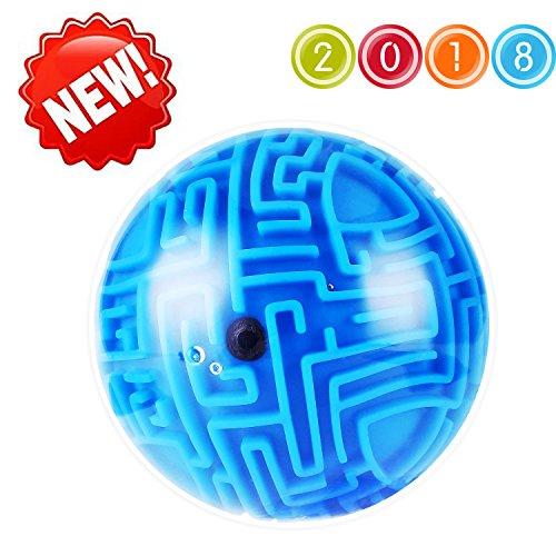 Intellect 3D Maze Puzzle Ball, Magic Ball Bearing Educational Globe Sphere Bulk Labyrinth Toys Brain Teaser game Best Gifts for Adults Kids Children Birthday - Stress Ball Pen Globe
