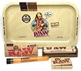 Bundle - 5 Items - RAW King Size Supreme, 110 Roller and Pre-rolled Tips with RAW Rolling Tray Artwork By Rockin' Jelly Bean (Small) and Doob Tube