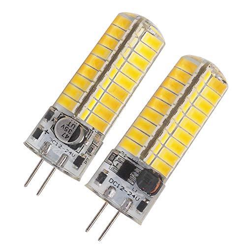 GLMING 3.5W G4 72-5730 SMD LED Bulb G4 Bi-pin Base AC 12V DC 12V-24V Silicone Crystal Corn Bulb Super Bright 480Lumens Warm White Pack of 2