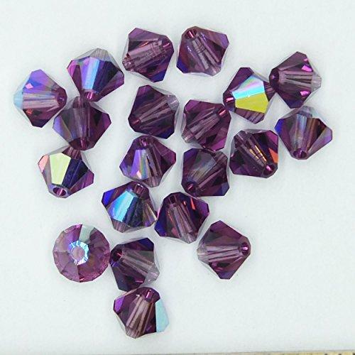 Amethyst Purple AB Iris Rainbow 4mm Swarovski Crystal Beads. Bicone. Made in Austria. Pack of 20