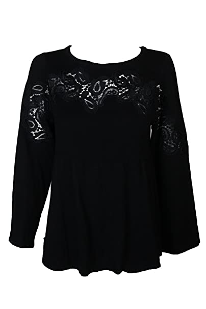 99893f53641 Image Unavailable. Image not available for. Color  Style   Co. Womens Plus  Lace Trim Babydoll Pullover Sweater ...