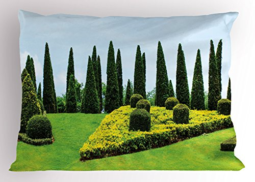 Ambesonne Garden Pillow Sham, Classic Formal Designed Garden Evergreen Shrubs Boxwood Topiaries Picture, Decorative Standard Queen Size Printed Pillowcase, 30 X 20 Inches, Green and Baby Blue (Topiary Standard)