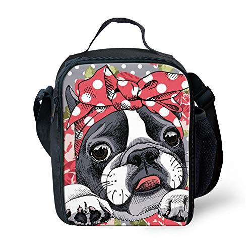 FANCOSAN Lunch Bags for Women Insulated Theromal Lunch Box With Mesh Pocket Red Bow Boston Terrier Cooler Tote Bag with Removable Shoulder Strap Lunch Organizer for Outdoor/Work ()