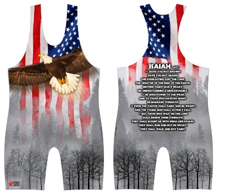 4-Time All American Isaiah 40 Sublimated Wrestling Singlet size XS ()