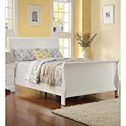 Benzara BM168418 Spellbinding Clean Wooden Full Bed, White
