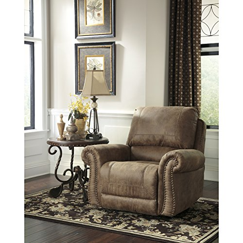 Signature Design by Ashley Larkinhurst Rocker Recliner in Earth Faux Leather (Reception Leather Faux)