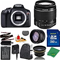 Great Value Bundle for T6 DSLR – 18-55mm STM + 32GB Memory + Wide Angle + Telephoto Lens + Backpack