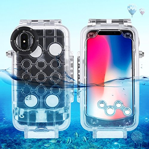 HAWELL iPhone X/XS Diving Case, Professional [40m/130ft] Surfing Swimming Snorkeling Photo Video Waterproof Protective Case Underwater Housing for iPhone with Lanyard (Transparent)
