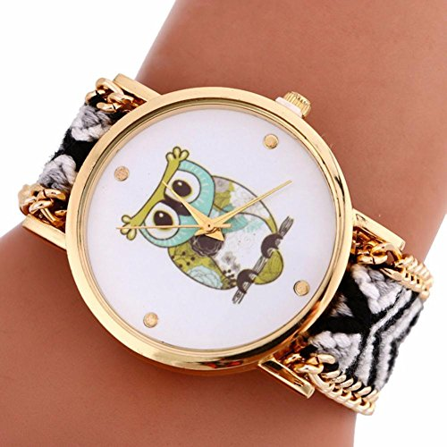 AMA(TM) Women Folk Style Owl Pattern Dial Wristwatch Knitting Quartz Bracelet Watch Gifts (Balck)