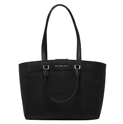 46fcc8a3f7 MICHAEL Michael Kors Women's EMMY Large DOUBLE HANDLE TOTE Leather Handbag  (Black)