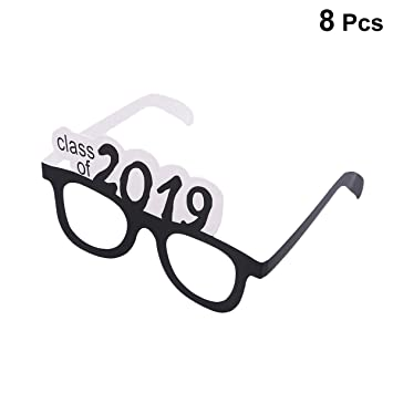 de346dfbffda Amosfun 8pcs Class of 2019 Graduation Eyeglasses Congrats Grad Glasses  Frame Fancy Eyeglasses Party Favors for Graduation Party Decorations  Supplies, ...