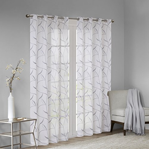 (Madison Park Reed Leaf Embroidered Window Curtain Sheer Voile Panel for Bedroom Living Room and Dorm, 50