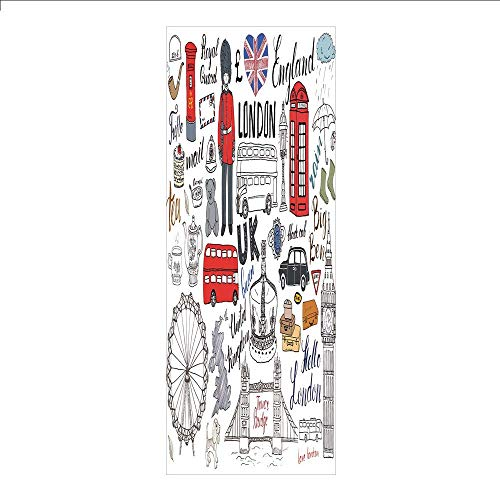 Yaoni 3D Decorative Film Privacy Window Film No Glue,Doodle,I Love London Double Decker Bus Telephone Booth Cab Crown of United Kingdom Big Ben Decorative,Multicolor,for Home&Office ()