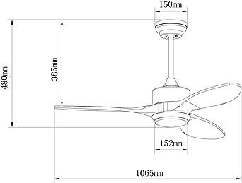 Wonderlamp NARE Ventilador De Techo, 12 W, Gris: Amazon.es: Iluminación
