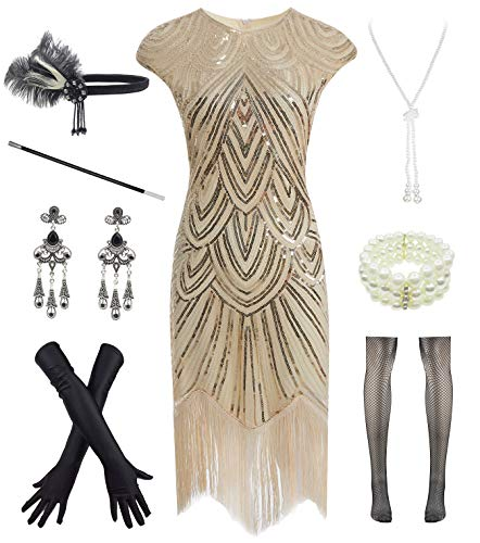 Women 1920s Vintage Flapper Fringe Beaded Gatsby Party Dress with 20s Accessories Set Beige