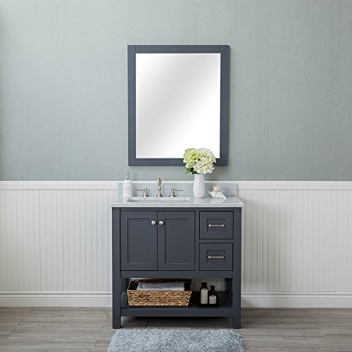 - Wilmington 36 in. Single Bathroom Vanity in Gray with Carrera Marble Top and Mirror