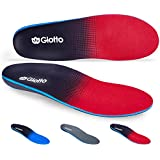 Giotto Plantar Fasciitis Flat Feet Orthotic High Arch Support Inserts Insoles Relieve Pronation Heel Ankle Foot Pain for Women Men-Black/Red-4