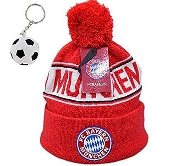 Bayern Munich Soccer Fan Winter Beanie Knit With Pom Pom ✮ One Size Fits  All (One Size Fits All 7fab9fc9da1