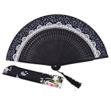 Meifan Chinese/Japanese Long Bamboo Leg Silk Folding Fans FMY (Black)