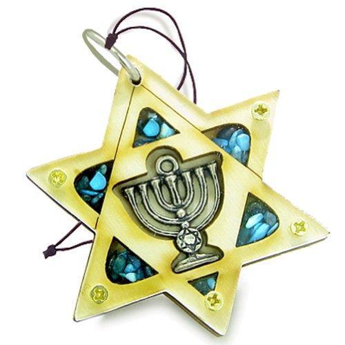 Holy Land Amulet King of Solomon Star Minora Blessing Wooden Lucky Car Charm -