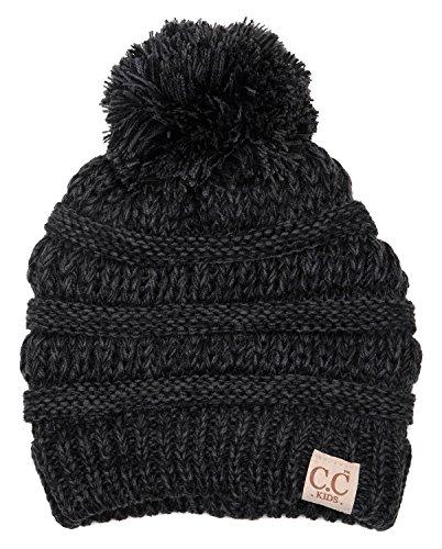 H-6847-816k.6206 Girls Winter Hat Warm Knit Slouchy Kids Pom Beanie - Onyx Black