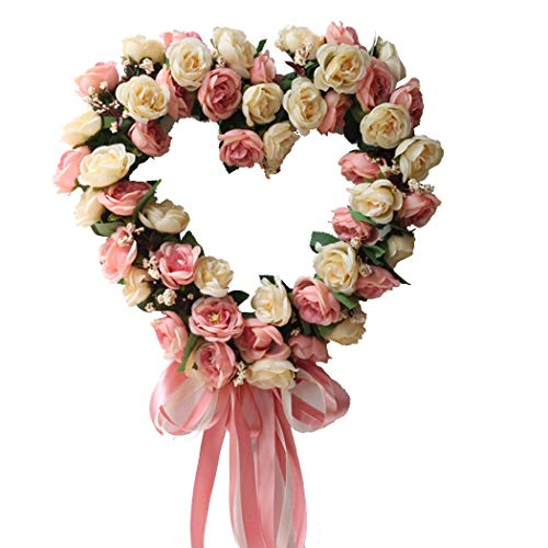 Funpa 14inch Wedding Wreath Artificial Rose Heart Shape Ribbon Door Hanging Wreath