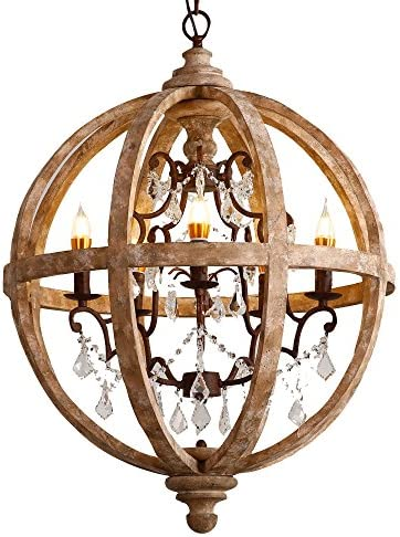 Lovedima New 24 Wide Retro Rustic Weathered Wooden Globe Chandelier Crystal 5-Light Pendant Lighting