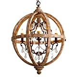 Lovedima New 24″ Wide Retro Rustic Weathered Wooden Globe Chandelier Crystal 5-Light Pendant Lighting For Sale