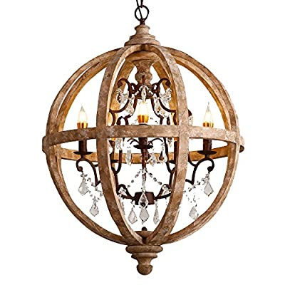 "Lovedima New 24"" Wide Retro Rustic Weathered Wooden Globe Chandelier Crystal 5-Light Pendant Lighting - Farmhouse Style: A wooden globe surrounding a metal scroll frame accented with crystals adds a glamorous farmhouse style. Quality Material: Weathered wood, rust metal, and clear crystal work perfectly and add rich texture and depth. Dimensions: diameter: 24.4"" (620mm); body height: 28"" (710mm); chain length: 39.4"" / 1000mm (adjustable, contact us if you need longer). All mounting hardware included, ready for installation right out of the box. Professional installation is recommended. - kitchen-dining-room-decor, kitchen-dining-room, chandeliers-lighting - 51PUbKi1r%2BL. SS400  -"
