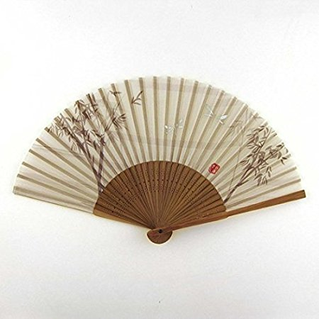Japanese Handheld Fan, Bamboo and Dragonflies Grey with sleeve (Voyager Compact Handheld)
