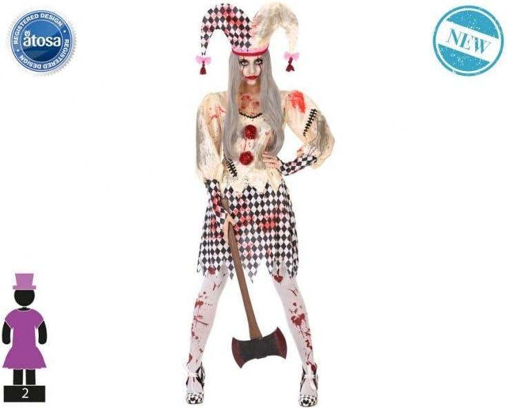 Atosa-55545 Disfraz Arlequin Sangriento Para Mujer Adulto, Color beige, Xl (55545