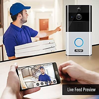 Ailink Video Doorbell Camera 720P HD Smart Doorbell Wi-Fi with Night Vision IR 33ft 166° Wide Angle Motion Sensor Two-way Audio Talk 8G Storage Battery Powered with Upgraded Charging Port