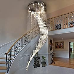 Modern Duplex Stairs Long Crystal Chandelier