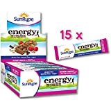 SunRype Gluten Free Energy Raspberry Chocolate Bars with 7g Plant Protein (Case of 15)
