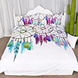 3 Pieces Gemstone Dreamcatcher Duvet Cover Set Chic Watercolor Dreamcatcher Feathers Pattern Quilt Cover Bedspread Bedding Comforter Cover (Twin)