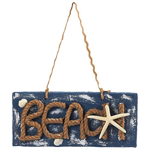 Juvale Beach Sign - Beach Decor Sign, Jute Rope Decorative Hanging Wall Sign, 11.9 x 13.5 x 0.5 Inches