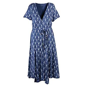 Beachcombers Women Seahorse Rayon/Spandex Wrap Dress Blue Extra Large