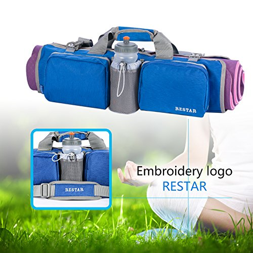 Yoga Mat Bag RESTAR Y5601 Yoga Tote Bag With Pocket and Delrin Zipper, Extra Large, Fit Most Mat Size (MAT IS NOT INCLUDED) Blue/Gray