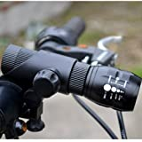 BESTSUN Cree Q5 LED Zoomable Flashlight with Mount Holder for Bike Cycling Outdoor (Flashlight with Mount)