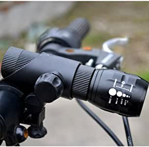 LEDMall Cree Q5 LED Flashlight Torch Super Bright focus torch with Mount Holder Bike Cycling Outdoor
