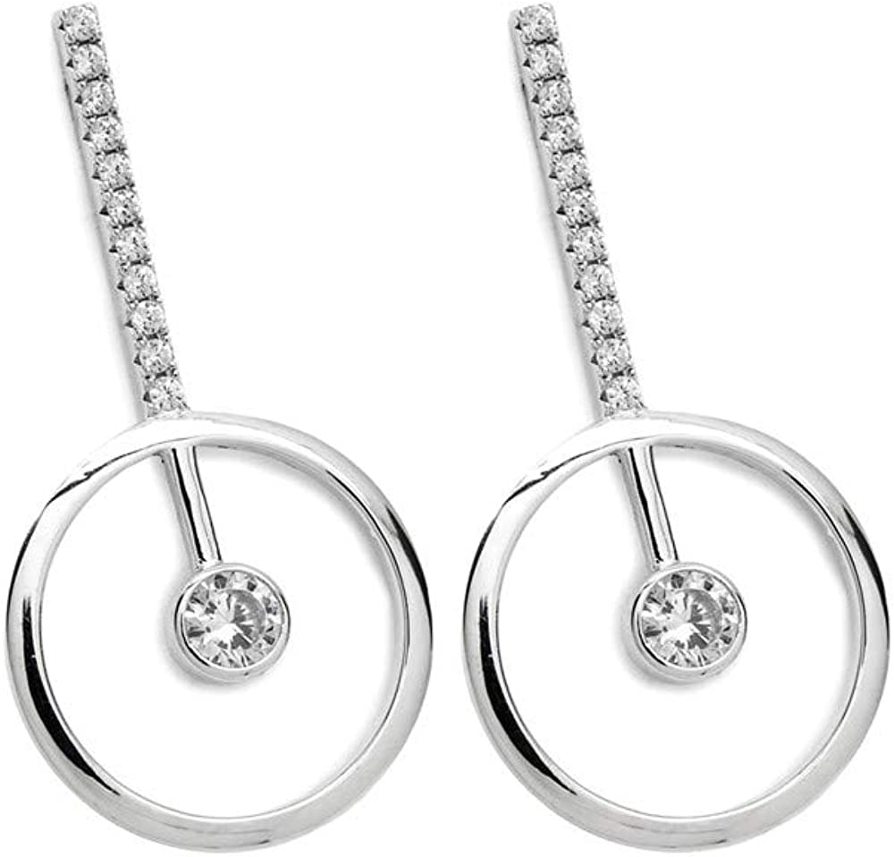 Pendientes Lineargent plata Ley 925m rodio línea círculo cuarzo diamantino circonitas microengaste