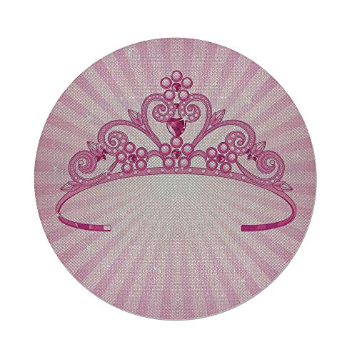 Cotton Linen Round Tablecloth,Kids,Beautiful Pink Fairy Princess Costume