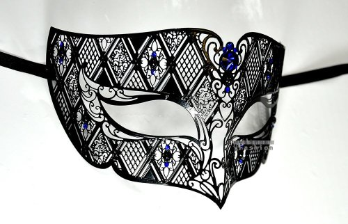 Black Men Plated Laser Cut Venetian Masquerade Mask with Blue Rhinestones Event Party Ball Mardi -