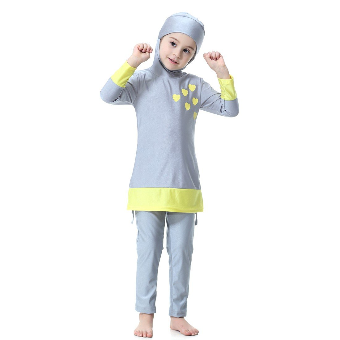 Paixpays Two Pieces Muslim Swimwear for Kids Islamic Swimsuit for Little Girl E9099S0076