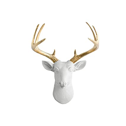 luxury ideas fake deer. Mini Deer by Wall Charmers  White Gold Antler Faux Head Bust Fake Animal Resin Amazon com