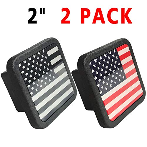 JIAYI American Flag Trailer Hitch Cover,2 inch Receiver Tube Hitch Plug (2 Pack)