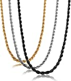 JF.JEWELRY 3-PCS Set Stainless Steel Rolo/Snake/Figaro/curb Chain Necklace for Men & Women,20-24 inches