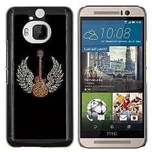 Jordan Colourful Shop - Guitar Wings Music Angel For HTC One M9+ / M9 PLUS Personalizado negro cubierta de la caja de pl????stico