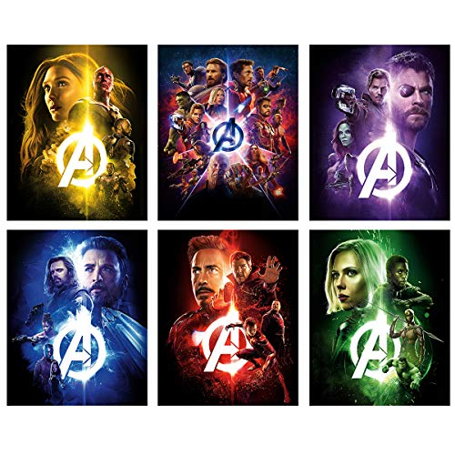 Marvel Avengers Movie Poster decor - The infinite war canvas wall art Superhero of Iron man/thor/Captain America/black widow/Doctor Strange/6 set unframed wall print 8x10 inch for kids room decor