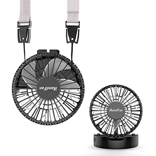 HandFan Personal Necklace Fan Battery Operated Hands-Free Neck Fan Rechargeable Fans Portable with Unique Magnetic Switch/Strong Airflow/Mute & 3 Speed Mode for Travel Outdoors Camping (Black)
